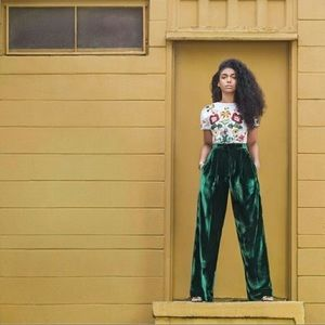 The O Boutique Pants - 🆕 Dark Green Crushed Velvet Wide Leg Pants